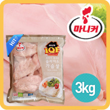 마니커 IQF 가슴살슬라이스 3kg / 요리가 편리한 슬라이스 가슴살 / 지퍼백포장