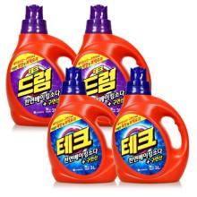 [무료배송] 대용량 테크 천연베이킹 액체 일반용/드럼용 용기 3.0L (4개)/세탁세제/테크
