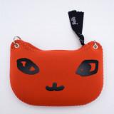 일본 직수입-고양이 얼굴 파우치(링:실버) / 키타카미강의 석양 (でか猫ポーチ(ピアス)/キタカミガワノユウヒ)