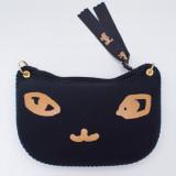 일본 직수입-고양이 얼굴 파우치(링:골드) / Chat Noir (でか猫ポーチ(ピアス)/シャノワール)