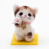 일본 직수입-해피 마네키네꼬/큰방울 연한 삼색냥(幸せ招き猫/うす三毛)100%수제,핸드메이드