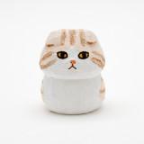 일본 직수입-스코티쉬폴드(동글이냥) (スコティッシュフォールド/うす茶×白)100%수제,핸드메이드 나무인형