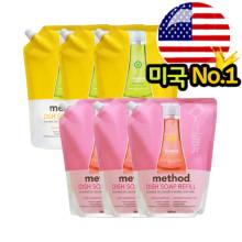 메소드 주방리필 (핑크그레이프/레몬민트 중 택일) 1000ml X 3개 /주방세제