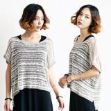 [코코베른]KNF897-natural stripe knit/커버업스타일/라운드니트/내추럴/썸머룩/여리여리