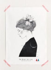 키 큰 나무 일러스트 천포스터 '밤하늘 소녀 #01'