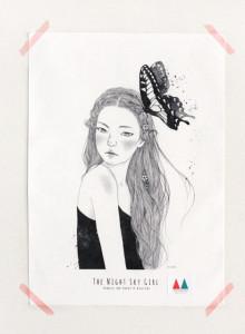 키 큰 나무 일러스트 천포스터 '밤하늘 소녀 #02'