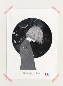 키 큰 나무 일러스트 천포스터 '밤하늘 소녀 #09'
