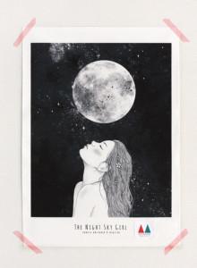 키 큰 나무 일러스트 천포스터 '밤하늘 소녀 #08'