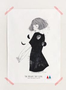 키 큰 나무 일러스트 천포스터 '밤하늘 소녀 #07'