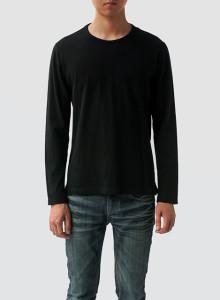 [BOR]크루넥 긴소매 티셔츠/남성용/블랙/M,L사이즈 한정