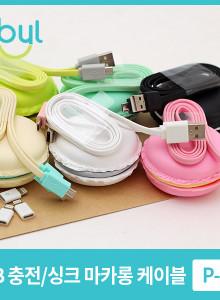 사이빌 마카롱 USB 충전 케이블 with 라이트닝 변환젠더