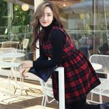 코코베른☆OP684_뮤란 체크ops/캐쥬얼원피스/플레어라인/민소매/허리밴딩/모던/미니원피스