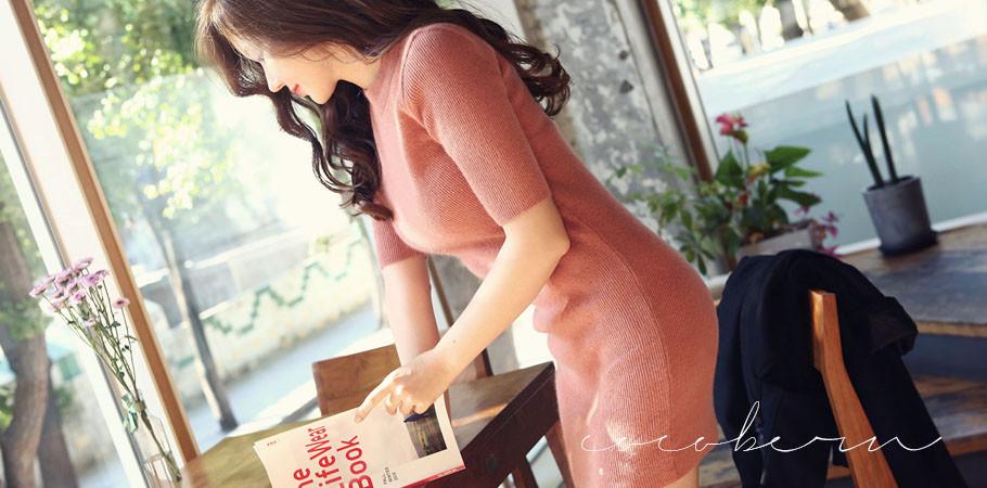 코코베른☆OP683_Lady H/line ops/앙고라원피스/베이직/러블리한/슬림/베이직/5부소매