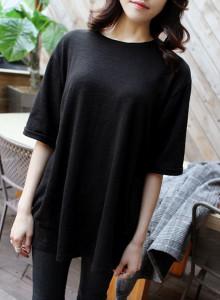 [걸스데일리]슬라브롤트임 티셔츠(크림,블랙)