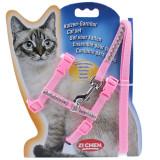 다이아몬드 컬러 고양이 몸줄셋트 하네스 리드셋트 산책줄 (핑크)
