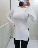 나팔 보트넥 골지 티셔츠[브이샵]