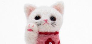 일본 직수입-해피 마네키네꼬/앞치마 하얀 고양이 (幸せ招き猫/エプロン白猫)100%수제,핸드메이드