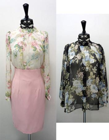 플라워 꽃무늬 패턴 쉬폰 시스루 꽃블라우스 정장 하이넥 블라우스 오피스룩 패르소나