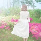 [러프리] 아일렛 레이스 원피스,셀프웨딩, 화이트원피스