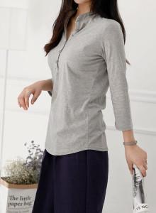 [걸스데일리]로렌 버튼 티셔츠(화이트,그레이,블랙)