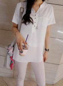 [걸스데일리]헤니 쉬폰 티셔츠(화이트,블랙)
