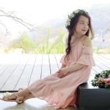 [코코베른]cb221 플로 오프숄더 미케일라 롱원피스 / 핑크 5~13호