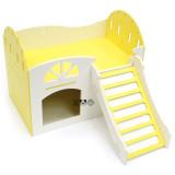 고슴도치/기니피그/골든햄스터 소동물용 포맥스 2층 팬션 은신처 하우스 - 대형/옐로우 (28.5 x 18 x 22.5cm)