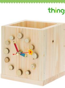 띵스플러스 원목교구 시리즈9 시계연필통