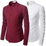 슬림라인핏 링클프리 포인트 스판 윙카라 턱시도 드레스 긴팔 셔츠95-125(XS-3XL) 와인,화이트,블랙