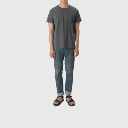 [BOR]피그먼트 티셔츠/남녀공용/챠콜/M,L사이즈