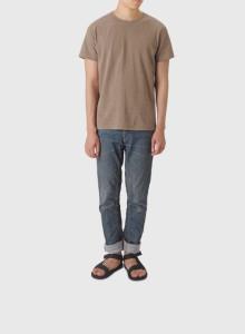 [BOR]피그먼트 티셔츠/남녀공용/다크 베이지/L사이즈