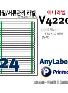 애니라벨 V4220 (24칸, 녹색 선) [10매] 134x11mm 파일/서류관리용라벨, AnyLabel 8805806042207