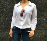 할인상품▶ 카라 브이넥 셔츠 남방 - 화이트, 네이비