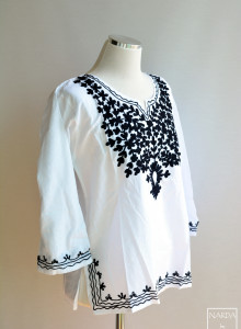 쇼트 화이트 꾸르티스 (인도의상)- 펀자비 쿠르티스, 꾸릅따, 쿠르타 (India Punjabi Kurtis Kurta) 자수 순면 브라우스, 자수 셔츠, 흰셔츠, 흰브라우스