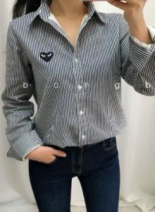 하트 패치 셔츠 남방 (일반 원단 or 피치기모 원단) - 네이비 스트라이프, 화이트