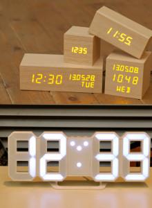 무아스 LED 무소음 우드 알람시계