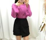 목걸이SET) 커프스 피치기모 티셔츠 - 핑크, 블랙