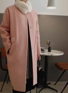 [걸스데일리]라운딩 울 코트(핑크,블랙)