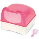 뉴에이지 친칠라 스윙 도어 모래목욕통 화장실&배쓰하우스 - 핑크(NA-C031)