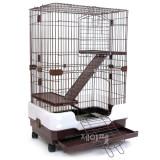 트리플 3단 고양이/토끼/친칠라/페릿 애완동물 더블 딜럭스 펫케이지 CH95(브라운/65x43x95cm)