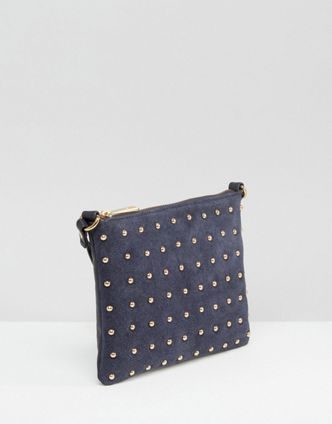 9cd636929bd [해외] ASOS Leather And Suede Pin Stud Cross Body Bag 아소스 레더스웨이드