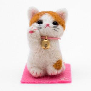 일본 직수입-해피 마네키네꼬/큰방울 갈색 얼룩냥(幸せ招き猫/茶ブチ)100%수제,핸드메이드
