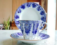 (예카공구) 10. 웨딩 꽃바구니 (찻잔+소서+디저트접시) 로모노소프 임페리얼 포세린 예쁜그릇