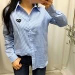 하트패치 스트라이프 셔츠 남방 - 소라, 네이비, 화이트