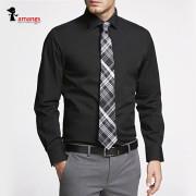 남자 검정색 와이셔츠 A1001 슬림핏 긴팔 셔츠
