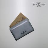 [누비레더] 화이트왁스 수제카드지갑-블랙