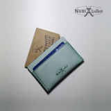 [누비레더] 화이트왁스 수제카드지갑-그린
