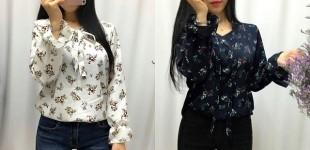특가❤ 봄 꽃길 플라워 리본 타이 소매 나팔 블라우스 - 아이보리, 네이비