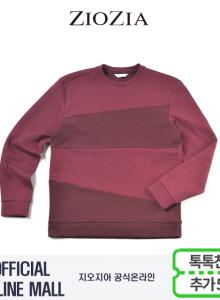 (지오지아/ZIOZIA) 컬러블럭 포인트 맨투맨 티셔츠(ABX1TR1102/와인)