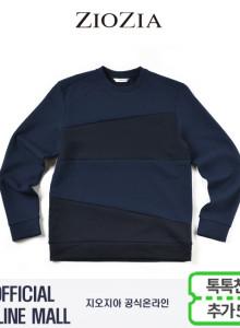 (지오지아/ZIOZIA) 컬러블럭 포인트 맨투맨 티셔츠(ABX1TR1102/네이비)